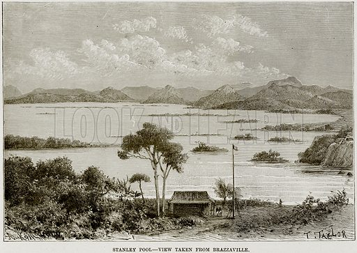 Stanley Pool – View taken from Brazzaville. Illustration from Africa and its Inhabitants by Elisee Reclus (Virtue, c 1895).