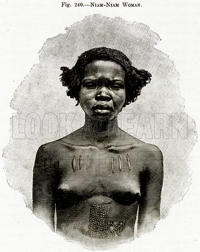 Niam-Niam Woman. Illustration from Africa and its Inhabitants by Elisee Reclus (Virtue, c 1895).