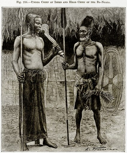 Under Chief of Iboko and Head Chief of the Ba-Ngala. Illustration from Africa and its Inhabitants by Elisee Reclus (Virtue, c 1895).