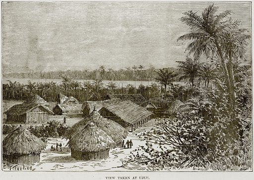 View taken at Ujiji. Illustration from Africa and its Inhabitants by Elisee Reclus (Virtue, c 1895).