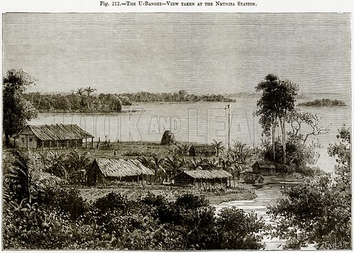 The U-Banghi – View taken at the Nkunjia Station. Illustration from Africa and its Inhabitants by Elisee Reclus (Virtue, c 1895).