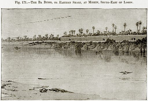 The Ba Busso, or Eastern Shari, at Miskin, South-East of Logon. Illustration from Africa and its Inhabitants by Elisee Reclus (Virtue, c 1895).