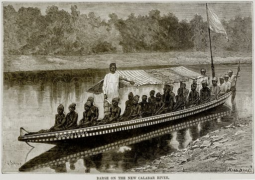 Barge on the New Calabar River. Illustration from Africa and its Inhabitants by Elisee Reclus (Virtue, c 1895).