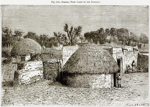 Sokoto – View taken in the Interior. Illustration from Africa and its Inhabitants by Elisee Reclus (Virtue, c 1895).