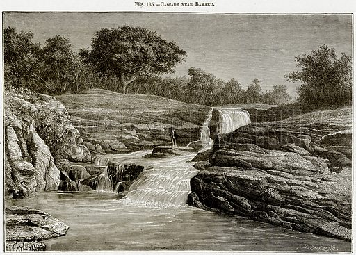 Cascade near Bamaku. Illustration from Africa and its Inhabitants by Elisee Reclus (Virtue, c 1895).
