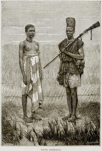 Young Bambaras. Illustration from Africa and its Inhabitants by Elisee Reclus (Virtue, c 1895).
