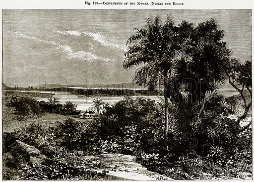Confluence of the Kwara (Niger) and Benue. Illustration from Africa and its Inhabitants by Elisee Reclus (Virtue, c 1895).