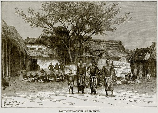 Porto-Novo – Group of Natives. Illustration from Africa and its Inhabitants by Elisee Reclus (Virtue, c 1895).