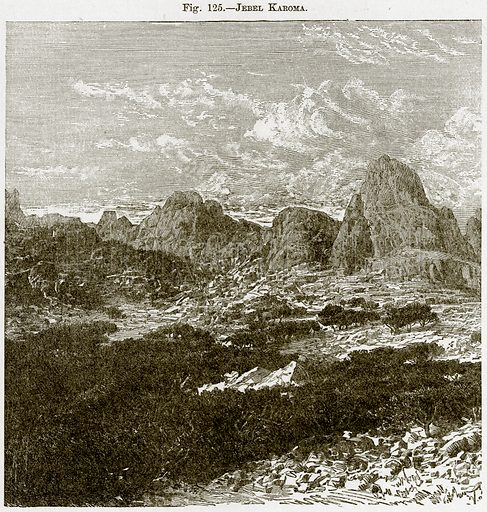Jebel Karoma. Illustration from Africa and its Inhabitants by Elisee Reclus (Virtue, c 1895).