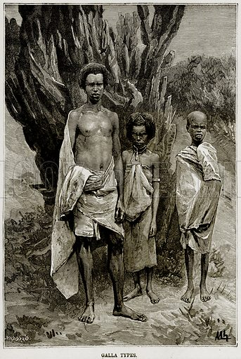 Galla Types. Illustration from Africa and its Inhabitants by Elisee Reclus (Virtue, c 1895).