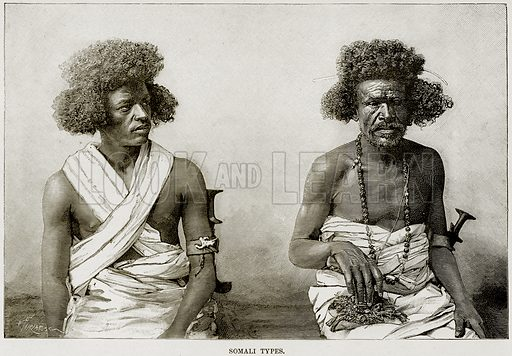 Somali Types. Illustration from Africa and its Inhabitants by Elisee Reclus (Virtue, c 1895).