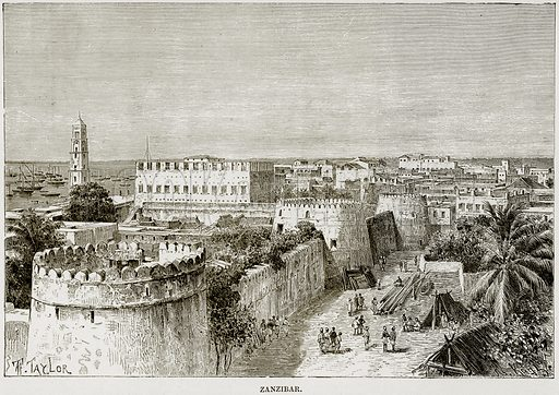Zanzibar. Illustration from Africa and its Inhabitants by Elisee Reclus (Virtue, c 1895).