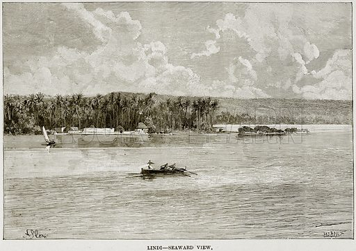 Lindi – Seaward View. Illustration from Africa and its Inhabitants by Elisee Reclus (Virtue, c 1895).