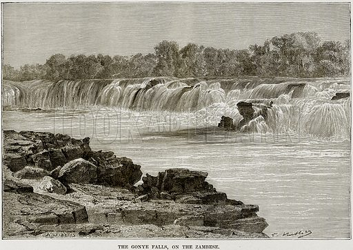 The Gonye Falls, on the Zambese. Illustration from Africa and its Inhabitants by Elisee Reclus (Virtue, c 1895).