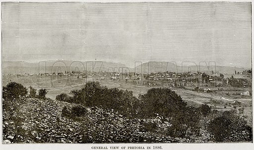 General View of Pretoria in 1886. Illustration from Africa and its Inhabitants by Elisee Reclus (Virtue, c 1895).