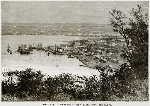 Port Natal and Durban – View taken from the Bluff. Illustration from Africa and its Inhabitants by Elisee Reclus (Virtue, c 1895).