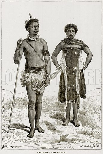 Kafir Man and Woman. Illustration from Africa and its Inhabitants by Elisee Reclus (Virtue, c 1895).