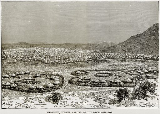 Shoshong, Former Capital of the Ba-Mangwatos. Illustration from Africa and its Inhabitants by Elisee Reclus (Virtue, c 1895).