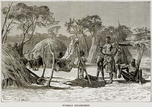 Bushman Encampment. Illustration from Africa and its Inhabitants by Elisee Reclus (Virtue, c 1895).