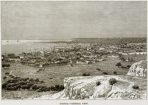 Loanda – General View. Illustration from Africa and its Inhabitants by Elisee Reclus (Virtue, c 1895).