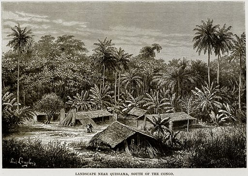 Landscape near Quissama, South of the Congo. Illustration from Africa and its Inhabitants by Elisee Reclus (Virtue, c 1895).
