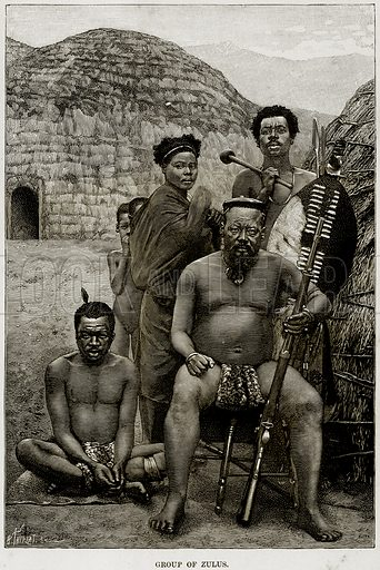 Group of Zulus. Illustration from Africa and its Inhabitants by Elisee Reclus (Virtue, c 1895).