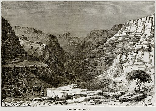 The Egueri Gorge. Illustration from Africa and its Inhabitants by Elisee Reclus (Virtue, c 1895).