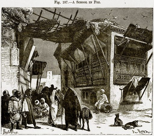 A School in Fez. Illustration from Africa and its Inhabitants by Elisee Reclus (Virtue, c 1895).