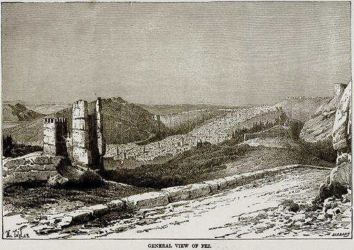 General View of Fez. Illustration from Africa and its Inhabitants by Elisee Reclus (Virtue, c 1895).