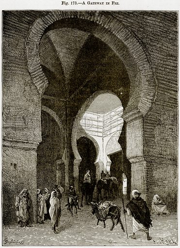 A Gateway in Fez. Illustration from Africa and its Inhabitants by Elisee Reclus (Virtue, c 1895).