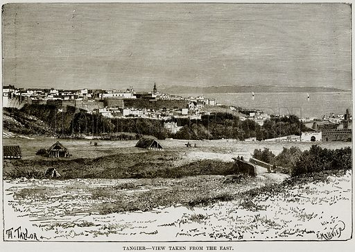 Tangier – View taken from the East. Illustration from Africa and its Inhabitants by Elisee Reclus (Virtue, c 1895).