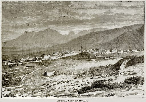 General View of Tetuan. Illustration from Africa and its Inhabitants by Elisee Reclus (Virtue, c 1895).