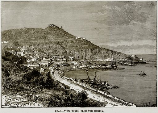 Oran – View taken from the Marina. Illustration from Africa and its Inhabitants by Elisee Reclus (Virtue, c 1895).
