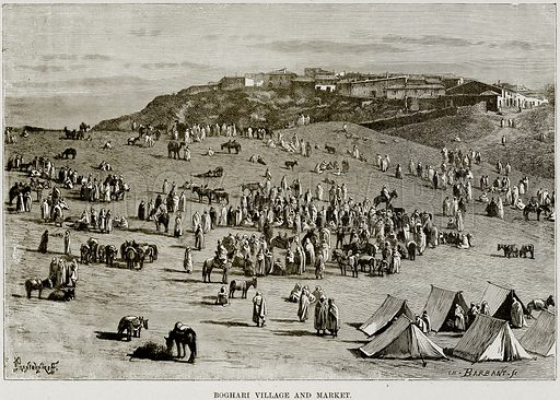 Boghari Village and Market. Illustration from Africa and its Inhabitants by Elisee Reclus (Virtue, c 1895).
