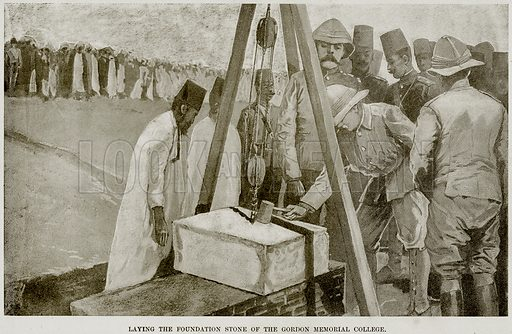 Laying the Foundation Stone of the Gordon Memorial College. Illustration from Africa and its Inhabitants by Elisee Reclus (Virtue, c 1895).