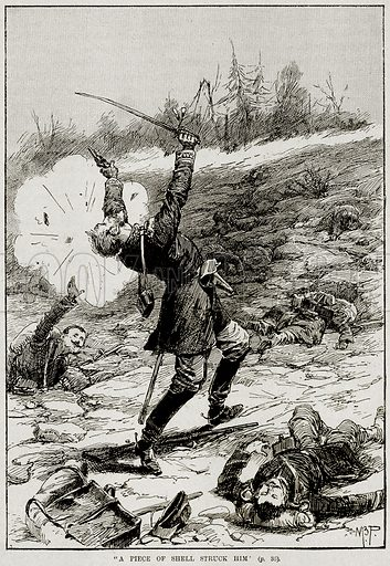 """""""A Piece of Shell Struck him"""". Illustration from Heroes of Britain in Peace and War by Edwin Hodder (Cassell, c 1890)."""