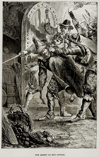 The Arrest of Guy Fawkes. Illustration from The Imperial History of England (Ward Lock, 1891).