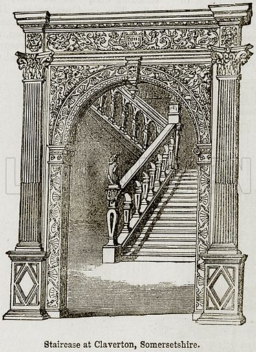 Staircase at Claverton, Somersetshire. Illustration from The Imperial History of England (Ward Lock, 1891).