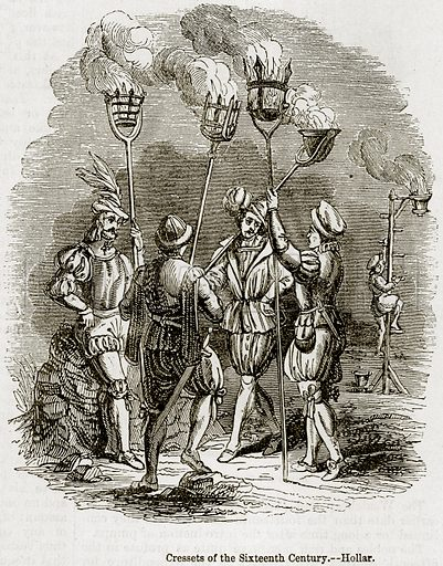 Cressets of the Sixteenth Century. – Hollar. Illustration from The Imperial History of England (Ward Lock, 1891).