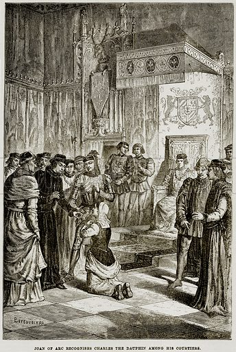Joan of Arc Recognises Charles the Dauphin among his Courtiers. Illustration from The Imperial History of England (Ward Lock, 1891).