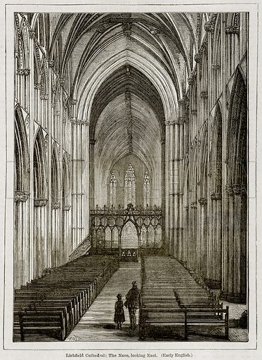 Lichfield Cathedral: The Nave, looking East. (Early English.) Illustration from The Imperial History of England (Ward Lock, 1891).