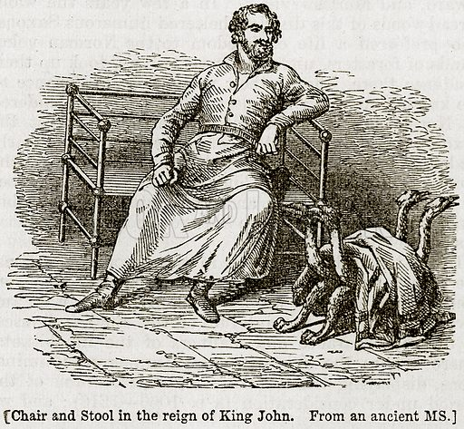 Charis and Stool in the Reign of King John. Illustration from The Imperial History of England (Ward Lock, 1891).