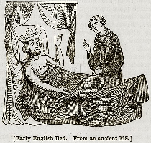 Early English Bed. Illustration from The Imperial History of England (Ward Lock, 1891).