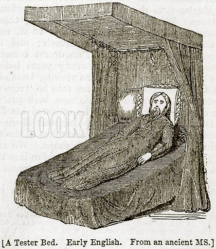 A Tester Bed. Early English. Illustration from The Imperial History of England (Ward Lock, 1891).