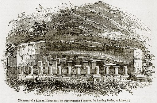 [Remains of a Roman Hypocaust, or Subterranean Furnace, for heating Baths, at Lincoln.]. Illustration from The Imperial History of England (Ward Lock, 1891).