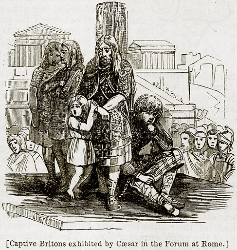 [Captive Britons exhibited by Caesar in the Forum at Rome.] Illustration from The Imperial History of England (Ward Lock, 1891).