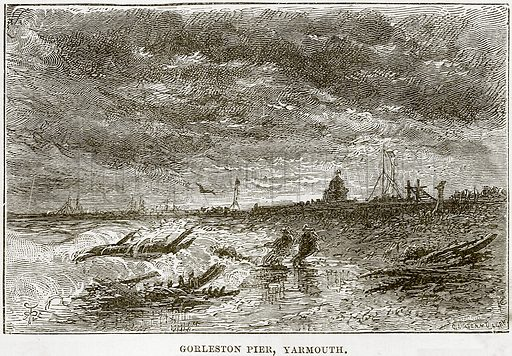 Gorleston Pier, Yarmouth. Illustration from Our Own Country (Cassell, c 1890).