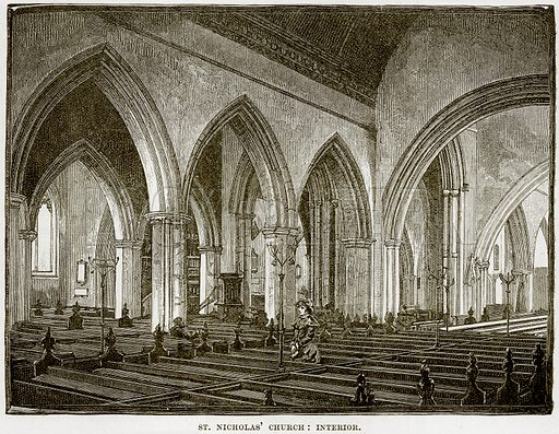 St Nicholas' Church: Interior. Illustration from Our Own Country (Cassell, c 1890).