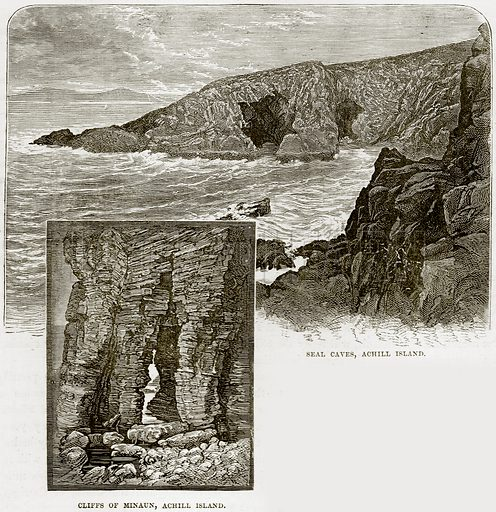 Seal Caves, Achill Island. Cliffs of Minaun, Achill Island. Illustration from Our Own Country (Cassell, c 1890).