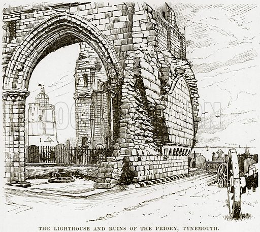 The Lighthouse and ruins of the Priory, Tynemouth. Illustration from Our Own Country (Cassell, c 1890).